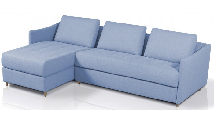 Canapé d'angle convertible SMILE - méridienne à gauche - Largeur 260 cm - Couchage 120 cm