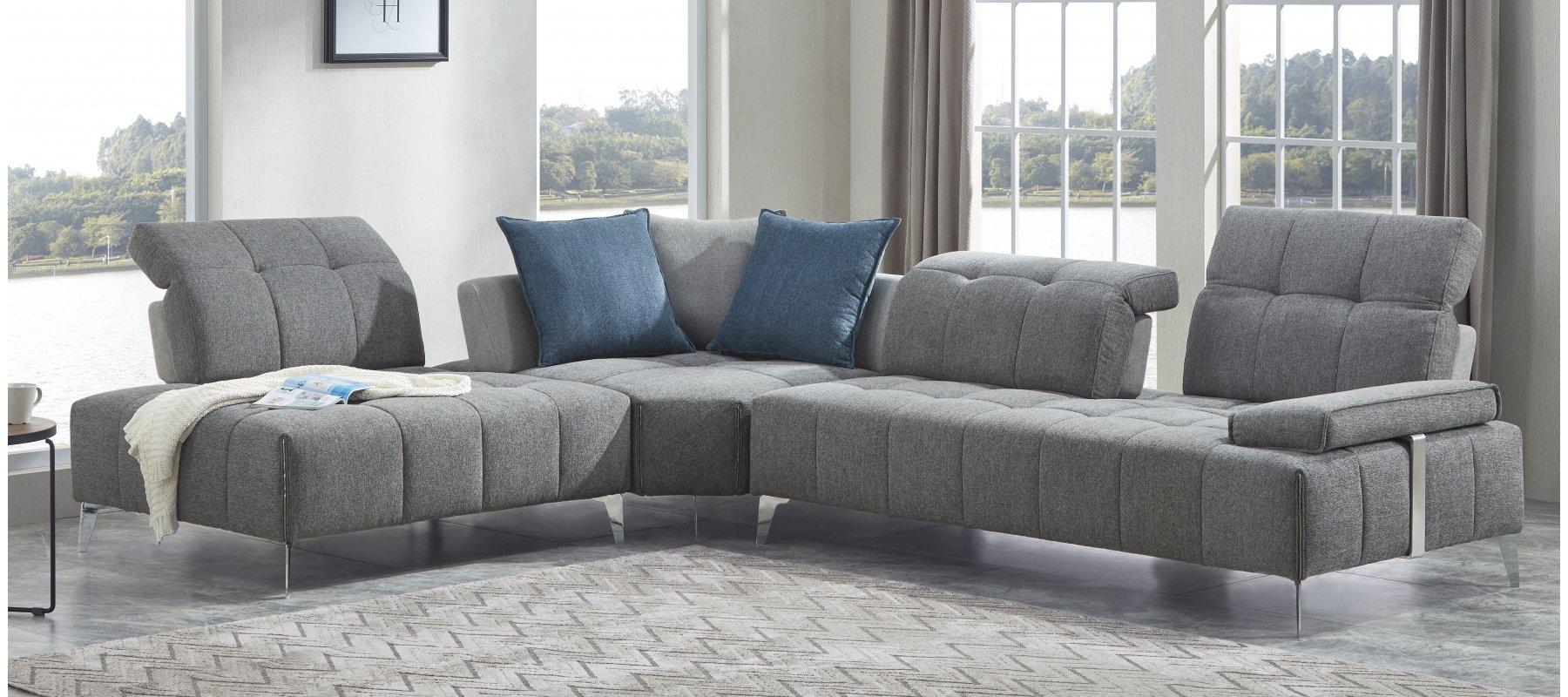 Canapé d'angle 5 places fixe PANORAMA avec méridienne à gauche - Largeur