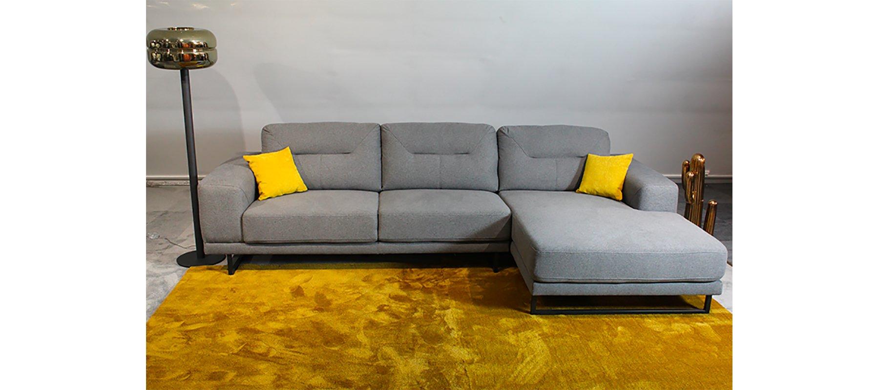 Canapé d'angle 4 places fixe HORIZON avec méridienne à droite - Largeur 269cm